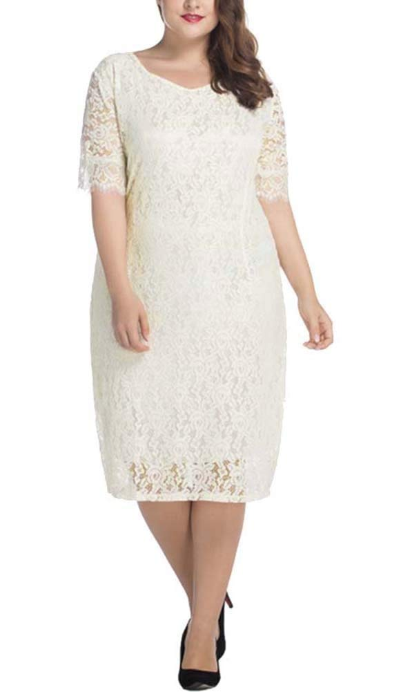 Oops Style Women Plus Size Mother of Bride Dress White Lace Summer Midi Dress