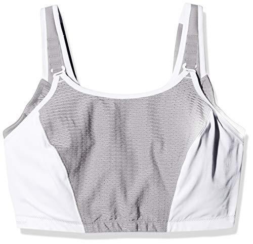 Glamorise Women's Plus Size Full Figure Adjustable Wirefree Sport Bra #1235, White/Grey ()
