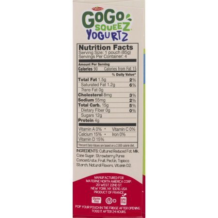 PACK OF 12 - GoGo Squeez Yogurtz Low Fat Strawberry Yogurt, 4 - 3 oz pouches by GoGo SqueeZ (Image #2)