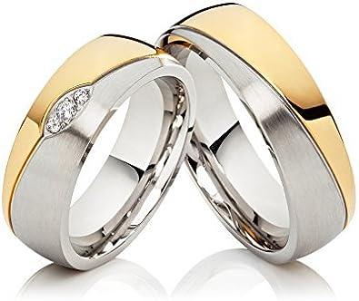 2 alianzas de boda anillos de compromiso anillos de acero ...