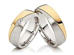 2 alianzas de boda anillos de compromiso anillos de acero inoxidable confies, Bicolor oro plateado, con 3 circonitas y grabado: Amazon.es: Joyería