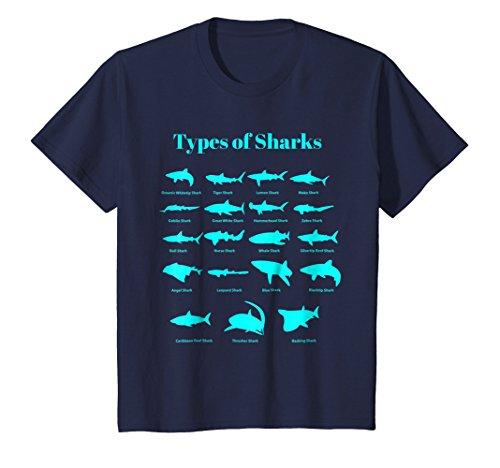 Kids Types Of Sharks T-Shirt Educational Marine Biology Tee 6 Navy