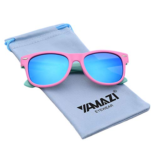 YAMAZI Kids Polarized Sunglasses Sports Fashion For Boys And Girls Mirrored Lens (Pink&mint Green | Blue Mirrored Lens, ()