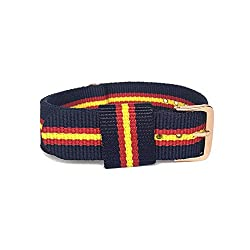 BINZI 20mm Nylon Canvas Rose Gold Buckle Watch Band Strap,Replacement Fabric Band Navy Blue-Red-Yellow