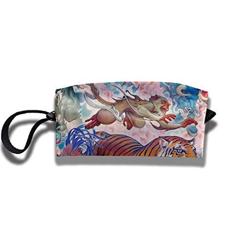 ROLLING HOP Chinese Zodiac Animals Travel Toiletry Bag Print Portable Cosmetic Bag Cosmetic Organizer Bag for Women Men Girls