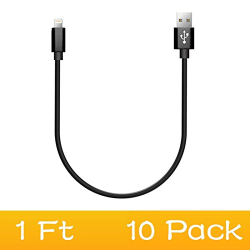 10 Pack iPhone Charger Short 1ft / 30CM - Durable Nylon Braided for Apple iPhone iPad iPod Beats Pill+ Charger Cord Black by Artchros