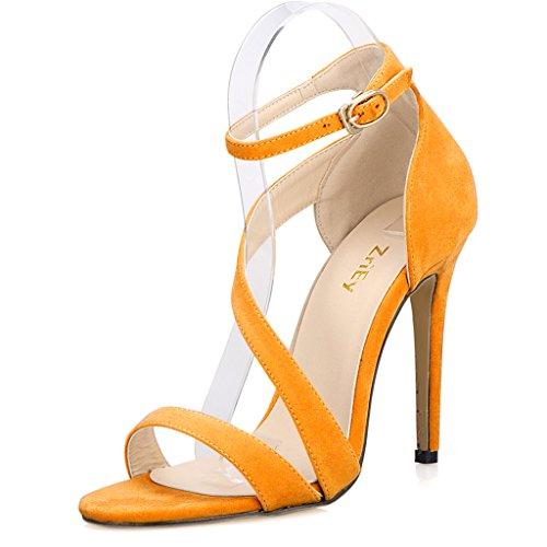 Women's Ladies Strappy Thin High Heel Sandals Ankle Strap Cuff Peep Toe Shoes Velvet Yellow Size 6.5 UK nU6K3LSv