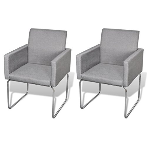 vidaXL Set of 2 Dining Chairs Fabric Upholstery Wooden Armchair Light Gray
