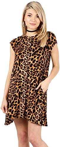 Casual T Shirt Dress for Women Flowy Tunic Dress with Pockets Reg and Plus Size - USA (Size Large, Brown Animal Print-Shrt Slve)