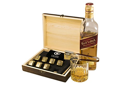 Whiskey Stones - Set of 8 titanium gold plated stainless steel Beverage Chilling rocks - Keeps your drink Ice cold and no water dilution - stored in a gift box - velvet bag and tong included