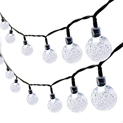 Binval Solar String Lights 30 Led Crystal Ball String Lights Waterproof Fairy Lighting for Home,Outdoor,Patio,Landscape,Holiday Decorations(2-Pack White)
