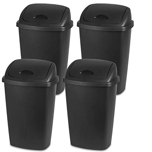- Sterilite 10889004 13.2 Gallon/50 Liter SwingTop Wastebasket, Black, 4-Pack