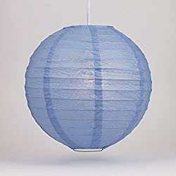 "Quasimoon PaperLanternStore.com 4"" Serenity Blue Round Paper Lantern, Even Ribbing, Hanging Decoration (10 Pack)"