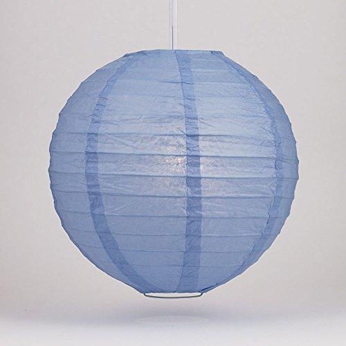 Quasimoon PaperLanternStore.com 24 Inch Serenity Blue Round Paper Lantern, Even Ribbing, Hanging - Blue Silk Lanterns