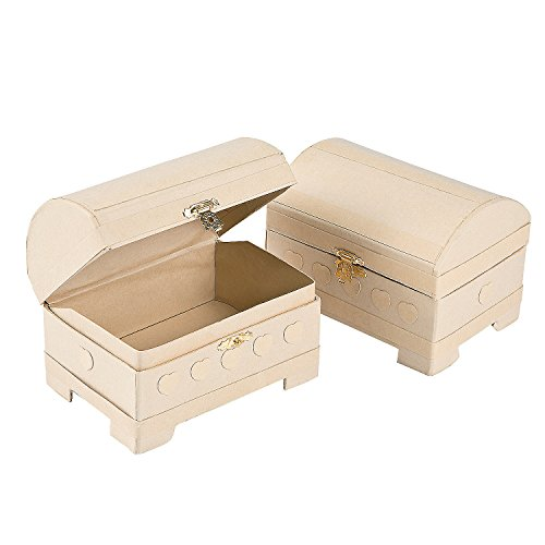 (Fun Express - DIY Mini Treasure Chests - Craft Kits - DYO - Wood - Toy - 12 Pieces)