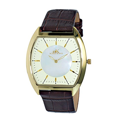 Adee Kaye Men's Slim Tonneau Brown Leather Band Steel Case Quartz MOP Dial Analog Watch AK2200-MGG