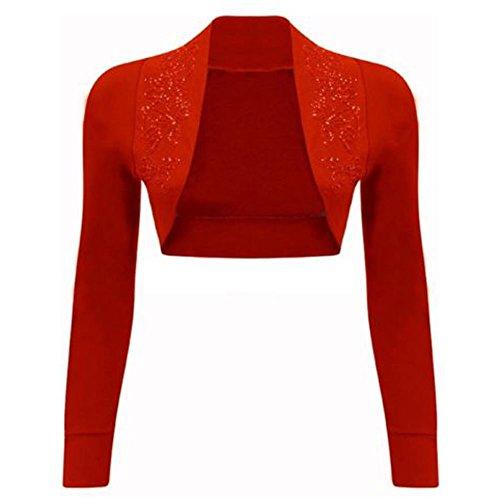 Copri spalle a maniche lunghe da donna, con paillette Red Medium