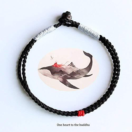 TALE Tibetan Buddhist Handbraided Rope Lucky Knots OM Bracelet One Heart To Buddha Black Red Silver
