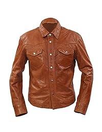 Men's Retro Denim Style Slim Fit Casual Tan Leather Shirt Jeans Jacket