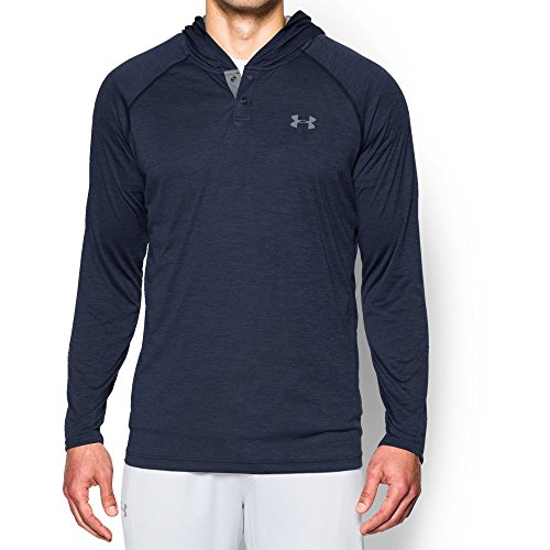 (Under Armour Men's Tech Popover Hoodie, Midnight Navy (410)/Steel, Small)