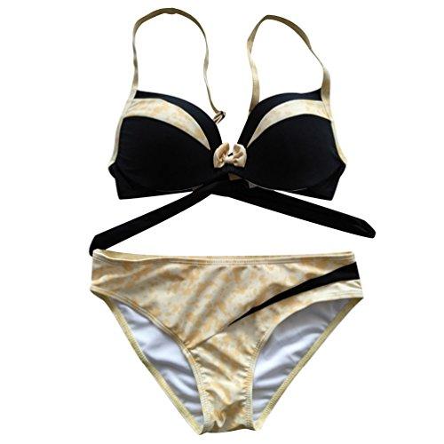 Bikini Push Up Damen Triangle Bikinis Bademode Große Größen Frauen Triangel Surf Bikini Set Badeanzug Rückenfrei Badeanzüge Ausgefallene Sport Sportbikinis Schöne Beachwear Coole Elegant Kaffee M75ZP7L7