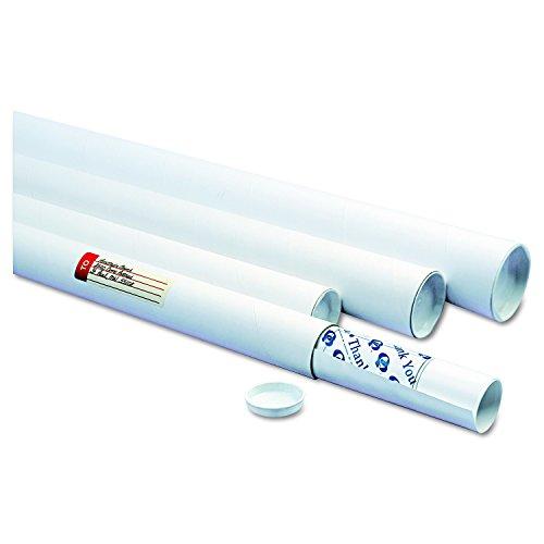 Quality Park Mailing Tubes, White, 36l x 3dia, 25 per Case, (46020) - Fiberboard Mailing Tube