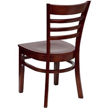 Flash Furniture 4 Pk. HERCULES Series Ladder Back Mahogany Wood Restaurant Chair