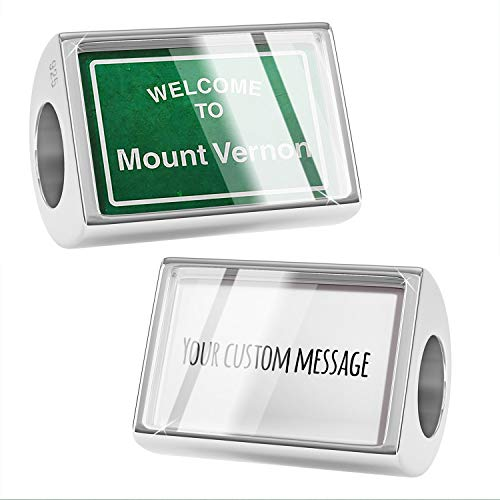 NEONBLOND Custom Charm Green Road Sign Welcome to Mount Vernon 925 Sterling Silver Bead