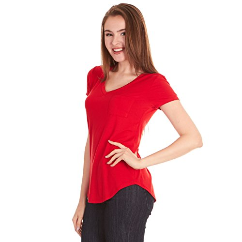 - X America V Neck Short Sleeve Junior and Plus Size T Shirts for Women w/Pocket, Made in USA Tibetan Red