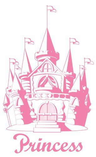 PINK CASTLE Princess Girl SUDDEN SHADOW WALL MURAL NEW E-Z to Install & remove