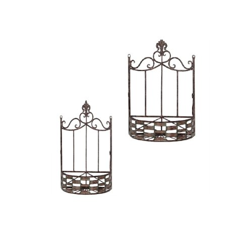 Essential Décor Entrada Collection 2-Piece Metal Wall Basket with Checkerboard Pattern