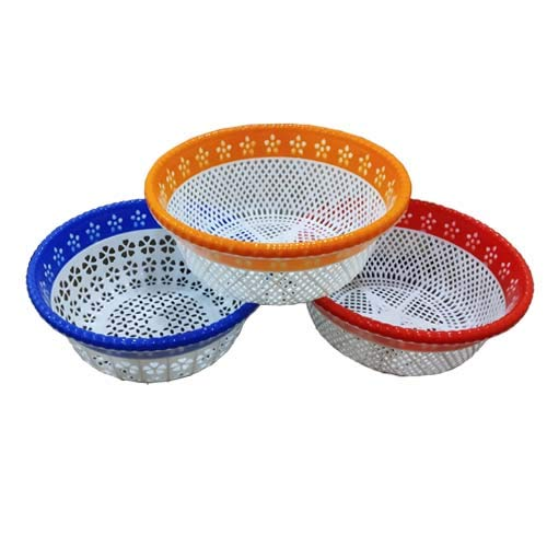 Maplemulti Plastic Vegetable Fruit Rinse Bowl & Strainer Cum Basket,Multi Set of 3 Price & Reviews