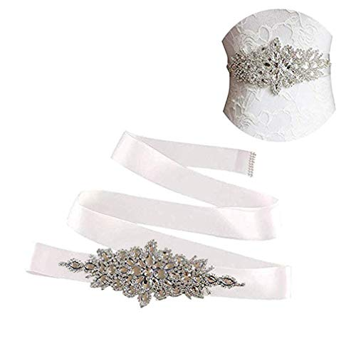 E-Clover Rhinestone Ribbon Sash Belt for Bridal Women