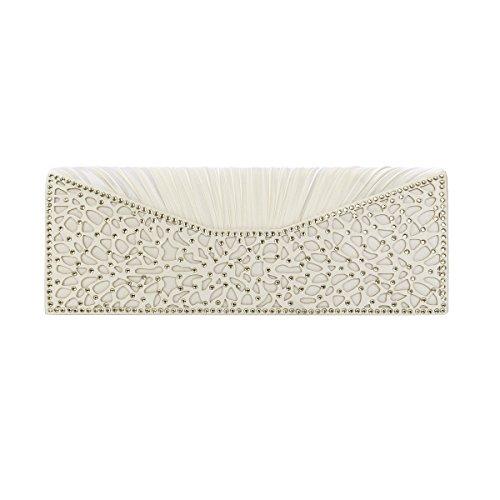Cream Clutch (Elegant Pleated Satin Floral Crystal Flap Clutch Evening Bag, Cream)