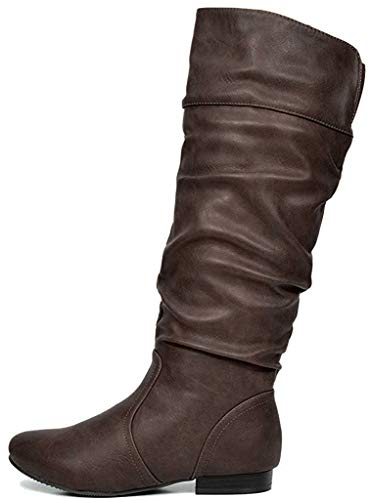 DREAM PAIRS Women's Wide Calf Knee High Pull On Fall Weather Winter Boots