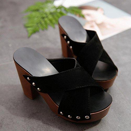 ancha lentejuelas 2 mujer corte 6 sandalias punta abierta alto Lolittas tacón adornado de cm zapatos cuña brillo de con con de negro 10 para talla plataforma gladiador 1wqxqBv5