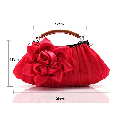 Bag FZHLY Satin Sac Floral de Evening Multicolore Femmes Robe main Mariée Soirée Winered Sac Embrayage Dress Croix à r0Xwr