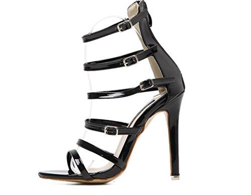 talón talones señoras de del SHFANG Black del del fino del las los del Zapatillas fresco dedo tacón Velcro de talón pie de del oropel 7qYTqfwz