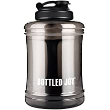 BOTTLED JOY 2.5L Large Capacity Water Jug with Handle, BPA Free Reusable Sports Drinking Water Bottle Container 85oz 2500ml (Black)