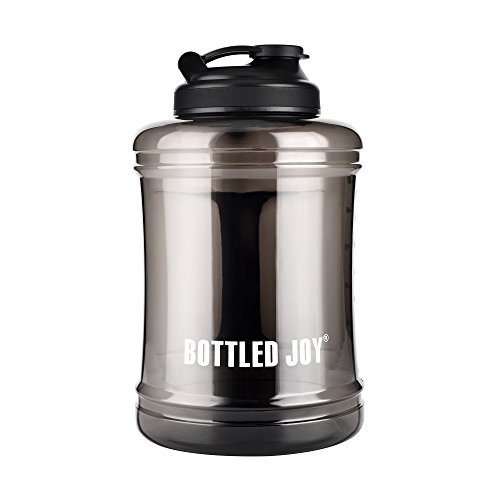 (BOTTLED JOY Large Water Bottle with Handle BPA Free Lightweight Reusable Drinking Big Capacity Water Jug Container for Outdoor Sports Gym Hiking Fitness 85oz 2500ml 2.5L (Transparent Black))