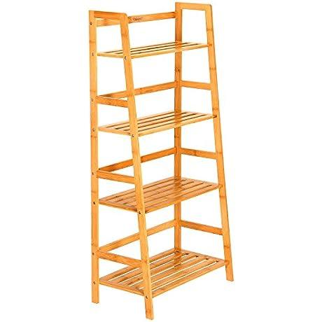 Ollieroo Natural Bamboo 4 Tier Bookcase Multifunctional Storage Rack Display Shelf