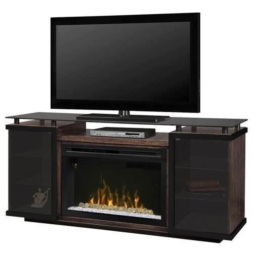Dimplex Aiden Electric Fireplace TV Stand with Acrylic in Peppercorn