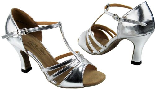 Sehr feine Frauen Salsa Ballroom Tango Latin Dance Schuhe Stil 1683 Bundle mit Kunststoff Tanzschuh Heel Protectors Silber