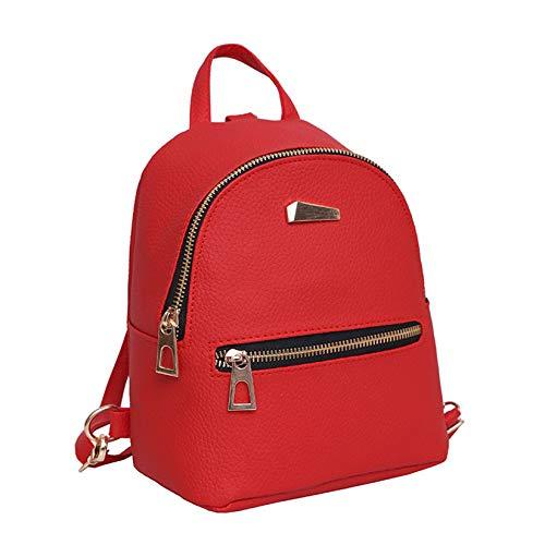 à sac cuir Rouge VHVCX femmes Mode Bookladies Rucksack dos école Red nouveau Nouveau Voyage Zipper Femme xAfz8q