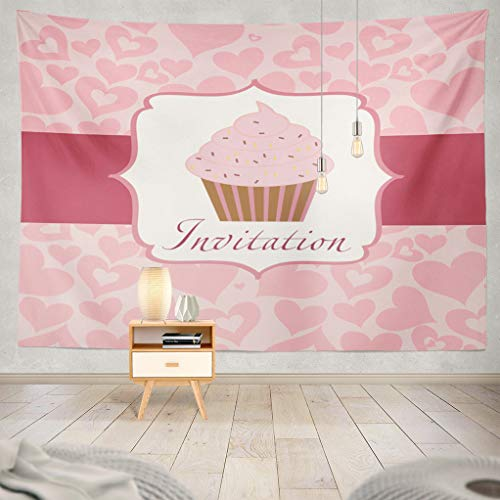 ASOCO Plaids-Cream Tapestry, Tapestry Wall Hanging Cupcake Invitation Anniversary Artistic Bakery Birthday Border Wall Tapestry for Bedroom Living Room Tablecloth Dorm 80