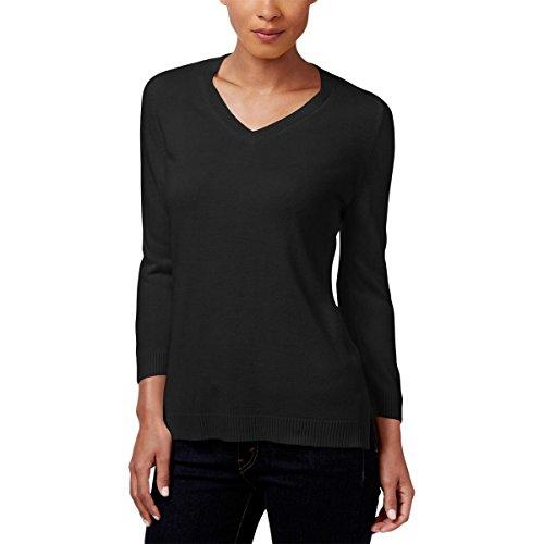 Karen Scott Womens Knit Long Sleeves V-Neck Sweater Black (Scott V-neck Cardigan)