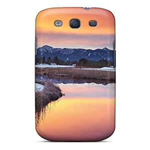 AWtBgsA3333YTJZD Anti-scratch Case Cover Mialisabblake Protective Awesome River Lscape On A Winter Sunset Case For Galaxy S3