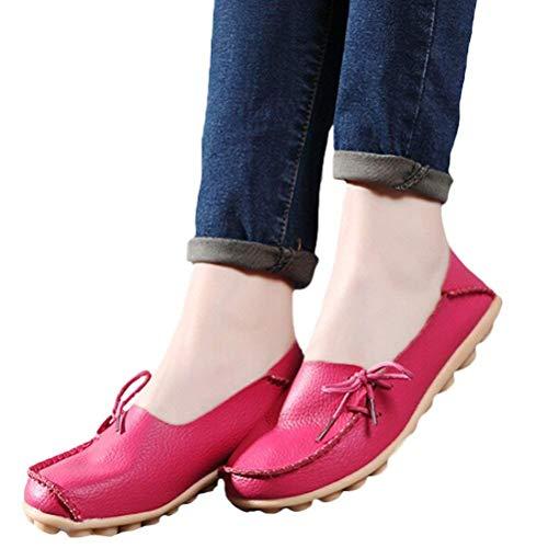 Style Style da 1 Dimensione Red Lavoro Donna Donna Colore 6 ZHRUI Mocassini Comfort Mocassini 5 5 Pantofole Pelle UK Rose Mocassini per in qanwO7nI