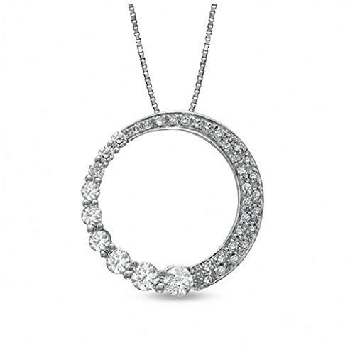 3/8 CT. T.W. Journey Diamond Circle Pendant Necklace in 10K White Gold
