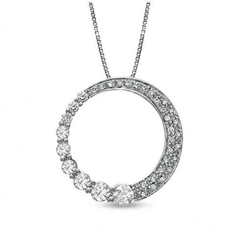 3/8 CT. T.W. Journey Diamond Circle Pendant Necklace in 10K White ()